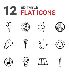 12 light icons vector