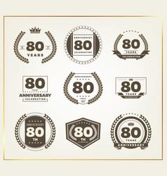 80 years anniversary logo set vector