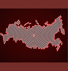 Abstract russia map of glowing radial dots vector