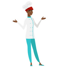 African confused chef cook with spread arms vector