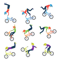 Athlete performs bike stunts 9 high quality bmx vector