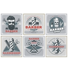 Barbershop Hipster Posters Set vector