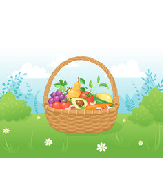 Basket with fresh food vector