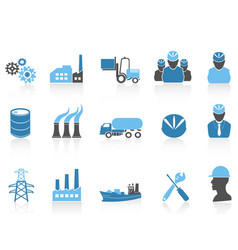 blue color series industry icons set vector image