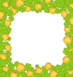 Border with clovers and golden coins for St vector image