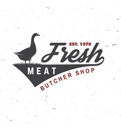 Butcher meat shop with goose badge or label vector