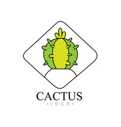 Cactus logo design creative badge with desert vector