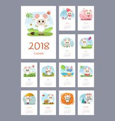 Calendar 2018 year with sheep vector