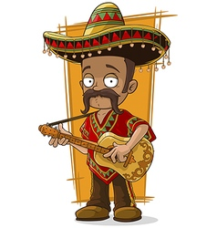 Cartoon mexican in sombrero with vector image