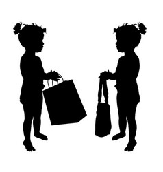 Child with shopping bag silhouette set vector