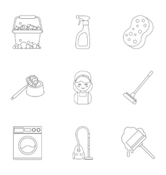 Cleaning set icons in outline style Big vector
