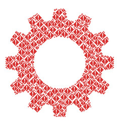 Cogwheel collage of warning icons vector