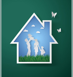 Concept of happy family with homepaper art vector