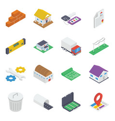 construction equipment isometric icons pack vector image