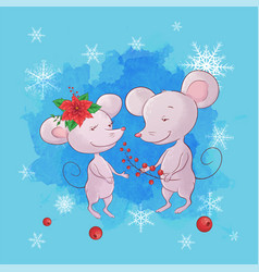 cute cartoon mouse boy and girl greeting card vector image