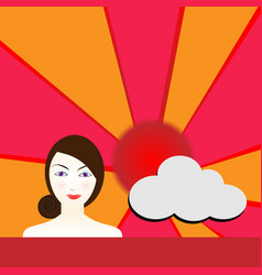 cute woman with sun and clouds in daytime vector image