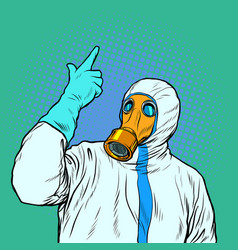 Doctor in protective suit and mask vector