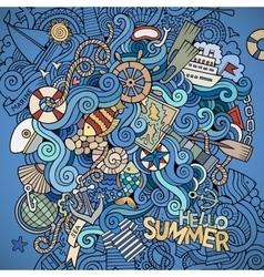 Doodles marine nautical background vector