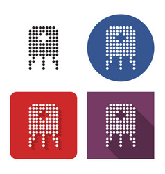 dotted icon transistor in four variants with vector image