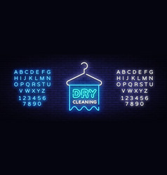dry cleaning neon sign cleaning design vector image