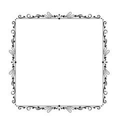 elegant vintage contour frame with petals circles vector image