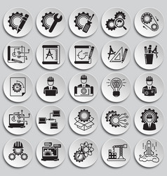 Engineering icons set on plates background for vector