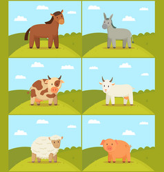 farm animal on scenery backdrop set vector image