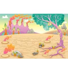 Funny prehistoric landscape vector