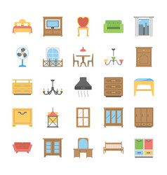 Furniture flat icons pack vector