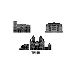 Germany trier flat travel skyline set germany vector