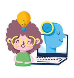 Girl kid with laptop head clock and light bulb vector