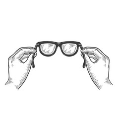 Glasses in hands sketch engraving vector