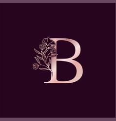 Gold rose flower letter b luxury logo elegant vector