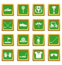 golf icons set green square vector image