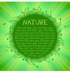 Green nature background with green grass sunburst vector image