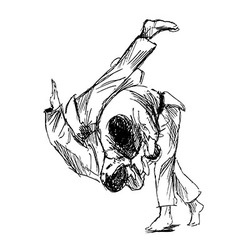 Hand sketch fighting judo vector