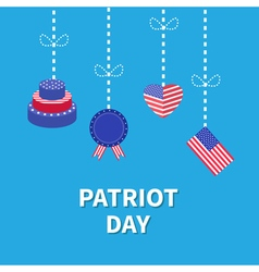 Hanging heart flag cake star and strip patriot vector
