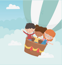 happy childrens day smiling boy and girls flying vector image