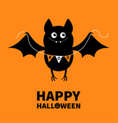 Happy halloween flying bat holding bunting flag vector