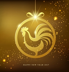 happy new year gold rooster concept design vector image