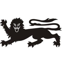 heraldic lion tattoo black white silhouette vector image