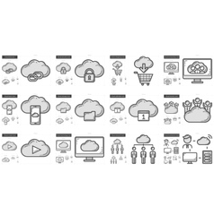 Hi-Tech line icon set vector image