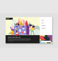 Hobby entertainment and traveling web site landing vector