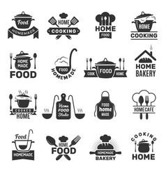 Homemade food badges kitchen cooking symbols vector