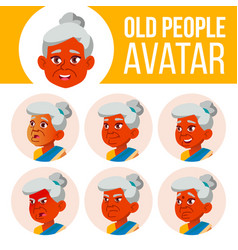 indian old woman avatar set face emotions vector image