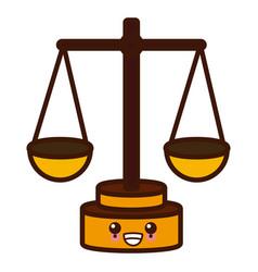 justice balance symbol cute kawaii cartoon vector image