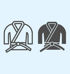 kimono line and solid icon asian martial art vector image