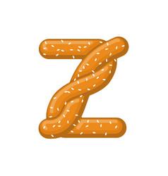Letter z pretzel snack font symbol food alphabet vector