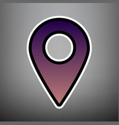 mark pointer sign violet gradient icon vector image