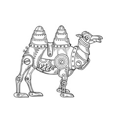 Mechanical camel animal engraving vector